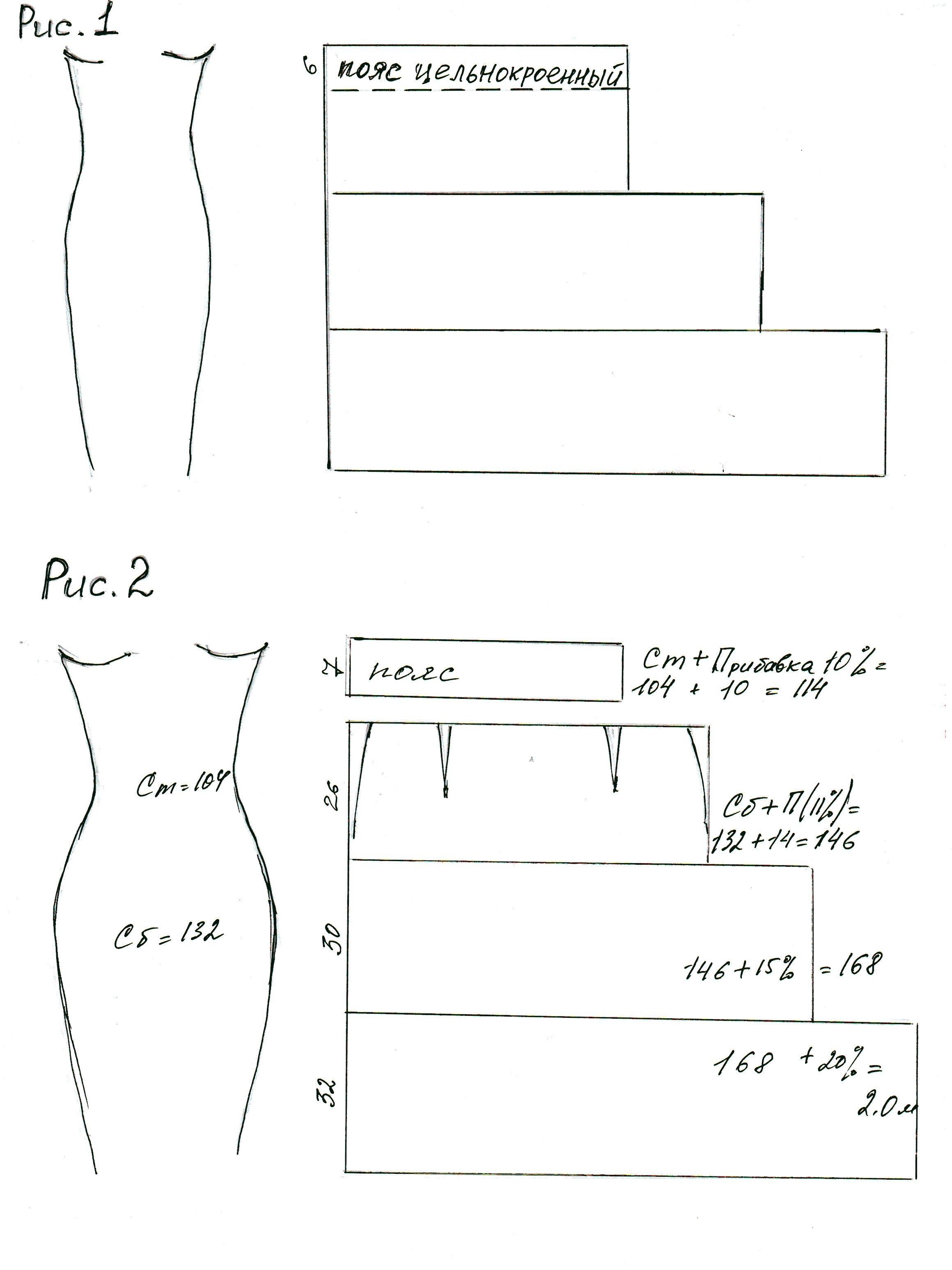 Детали юбки выкраивают с учетом припусков на швы и подгибку