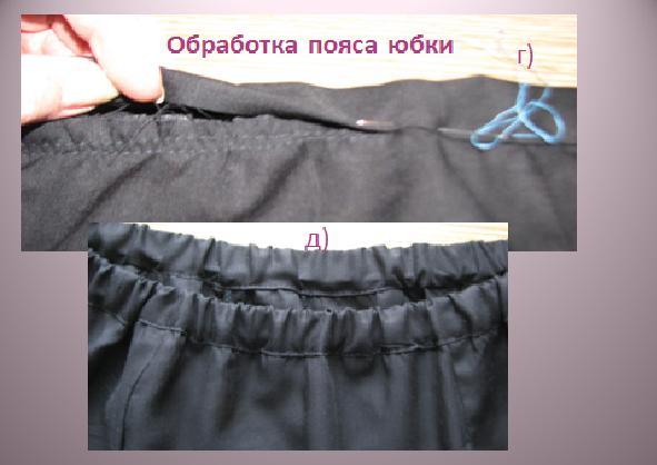 обработка пояса юбки