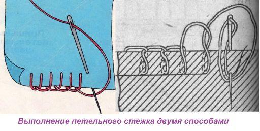выполнение петельного стежка двумя способами.